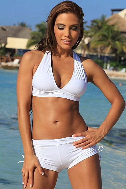 JENNA Sporty White Halter Top & Boy Shorts Bikini