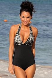 SARAH Black Halter Animal Print One Piece
