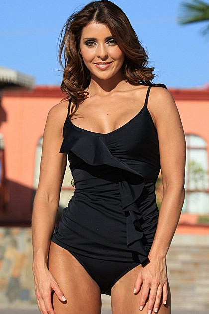 UJENA 2 Piece Black Ruffled Front Tankini Swimsuit ~ S-XL