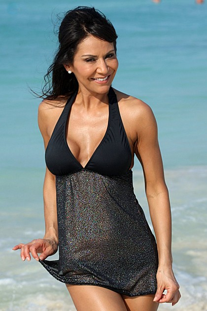 BARBARA Black Sparkle Babydoll Swimdress