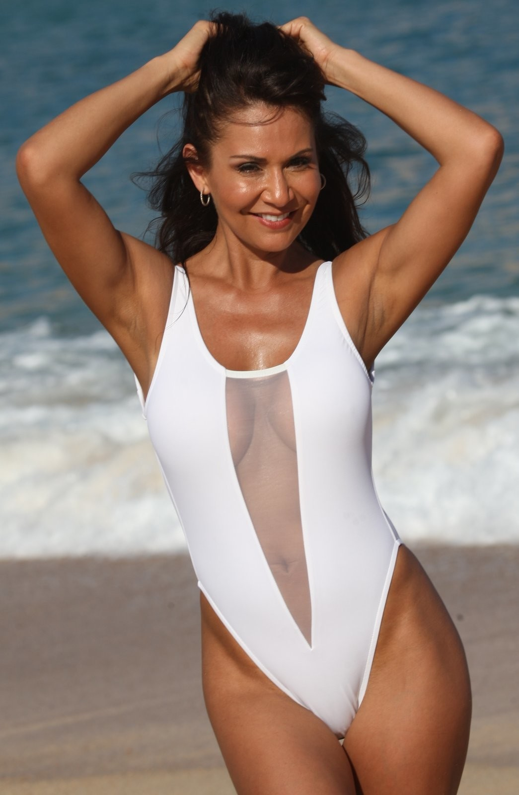 JAZMIN White Mesh Front High Cut Leg Swimsuit