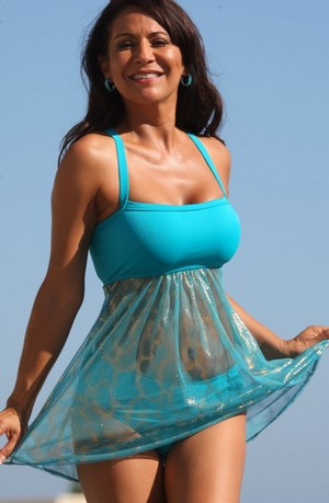 Ujena SHANNA Blue Sheer Body Swimdress