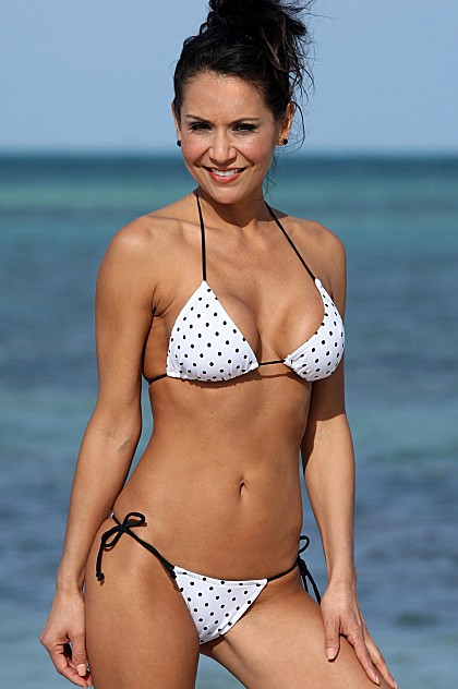 UJENA 2 Piece White and Black Polka Dot Skimpy String Bikini Swimsuit ~ XS-XL