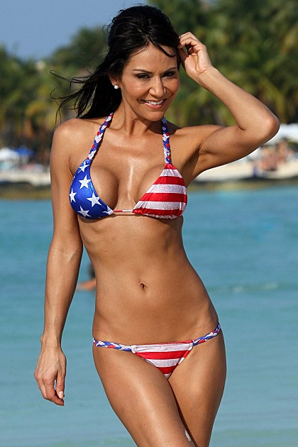 UJENA 2 Piece Stars and Stripes Metallic Braided Straps Bikini Swimsuit ~ XS-XL
