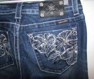 MISS ME Women's JP5473B3 Factory Distressed Boot Cut Jeans 28