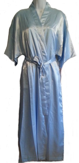 BLUE Satin Long Chemise Nightgown, Robe & Hanger 3 Piece Set -L