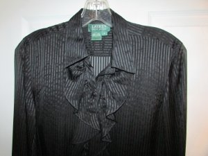 RALPH LAUREN 100% Silk Black Ruffle Front Blouse and Camisole Set - 4