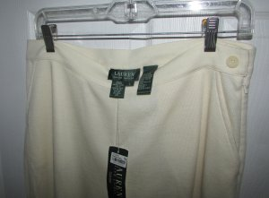 RALPH LAUREN Cream Wool Blend Knit Dress Pants - L