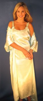 Satin Charmeuse Long Gown & Robe Set - Large