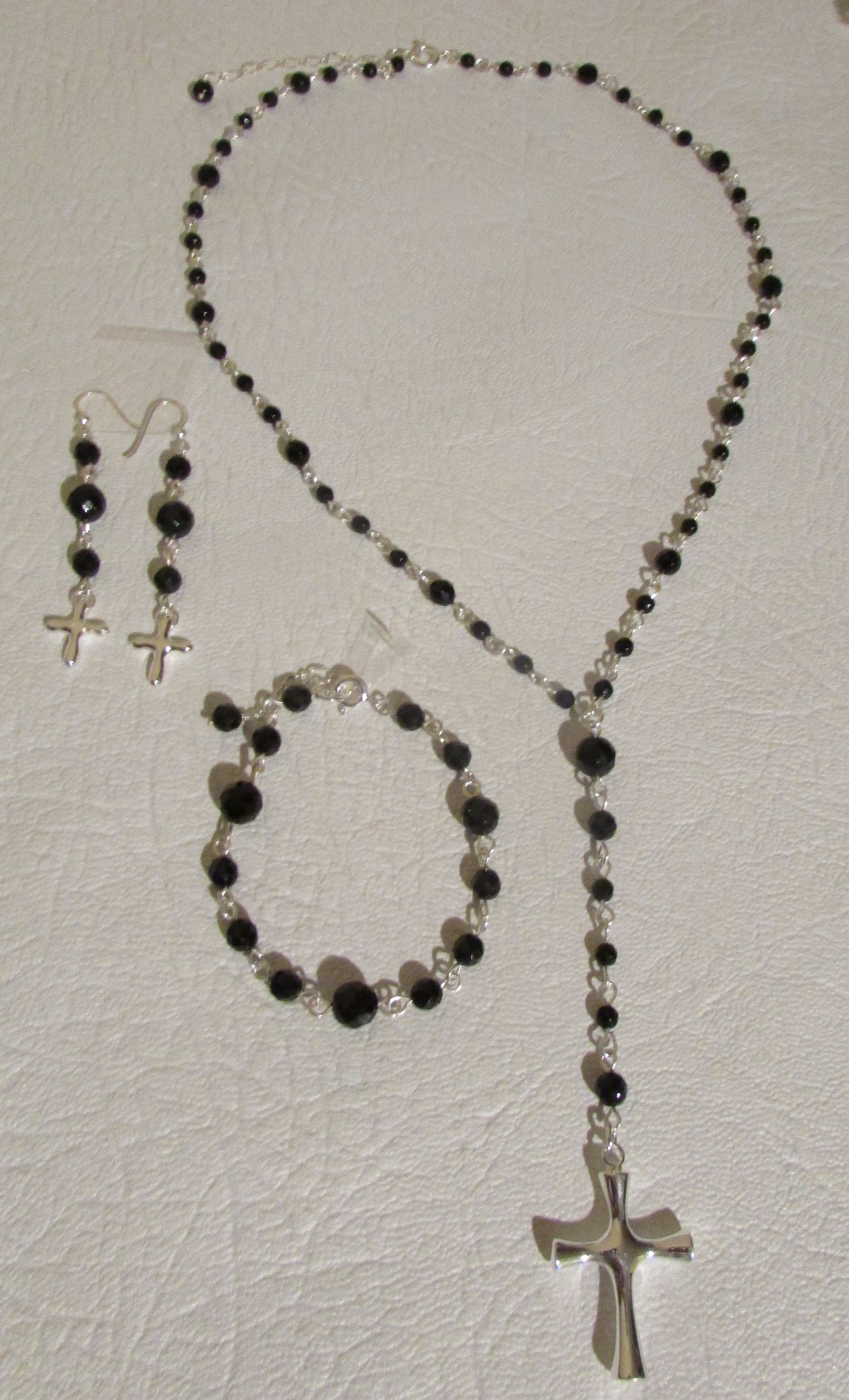 BLACK Onyx & Sterling Silver 925 Cross Pendant Lariat Necklace, Bracelet & Earrings Set