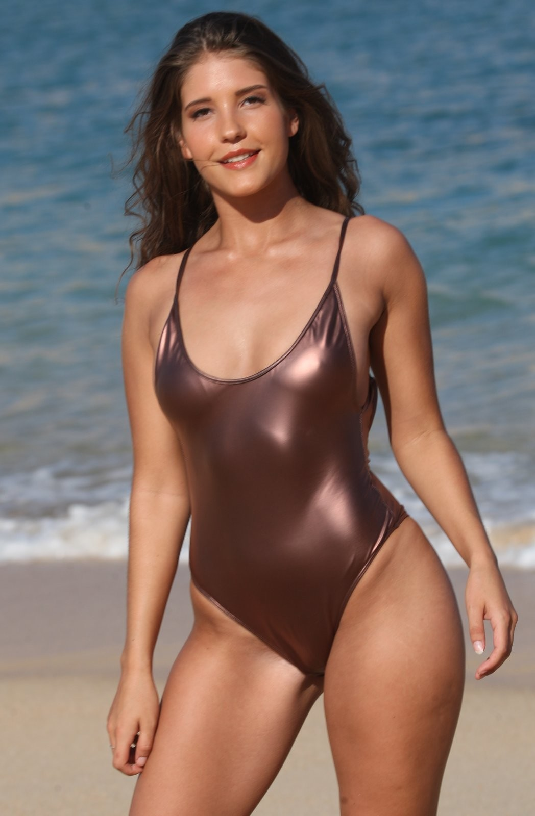 CAROLINA 1 Pc Bronze Metallic High Cut Legs Swimsuit