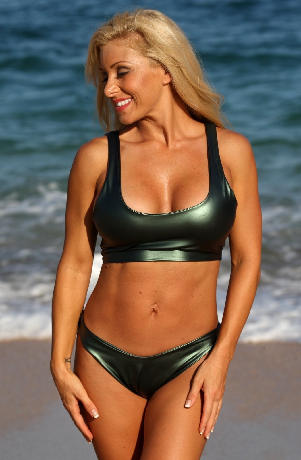 579a5632596 ERIN 2 Pc Green Metallic Sporty Thong Bikini - Clothes And Things.com