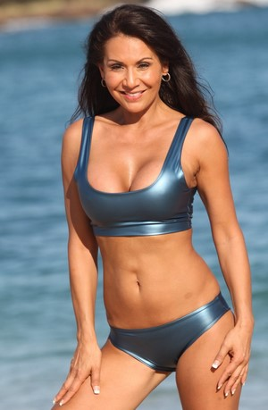 SOPHIA 2 Pc Blue Metallic Sporty Bikini