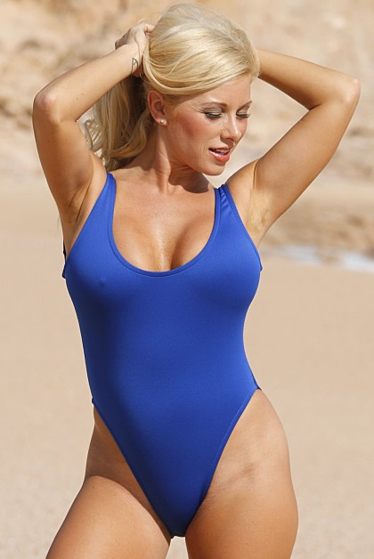 VENUS 1 Pc Scuba High Cut Leg Swimsuit - Blue