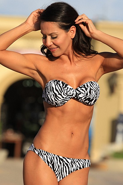 UJENA 2 Piece Zebra Print Strapless Twist Top Bikini Swimsuit ~ XS-1X